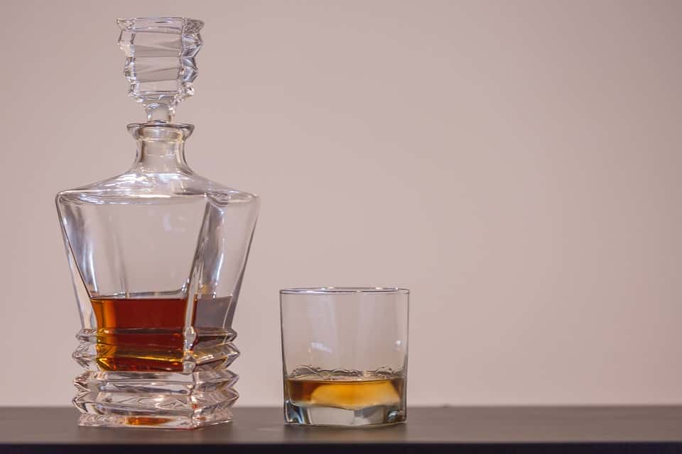scotch bottle and glass
