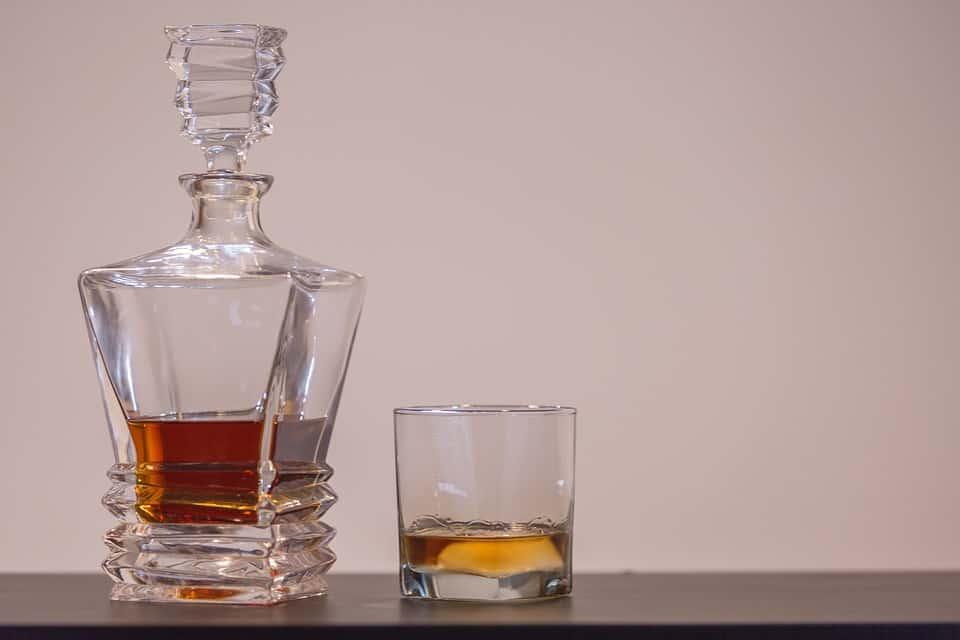 scotch bottle and glass
