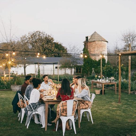 people drinking in backyards