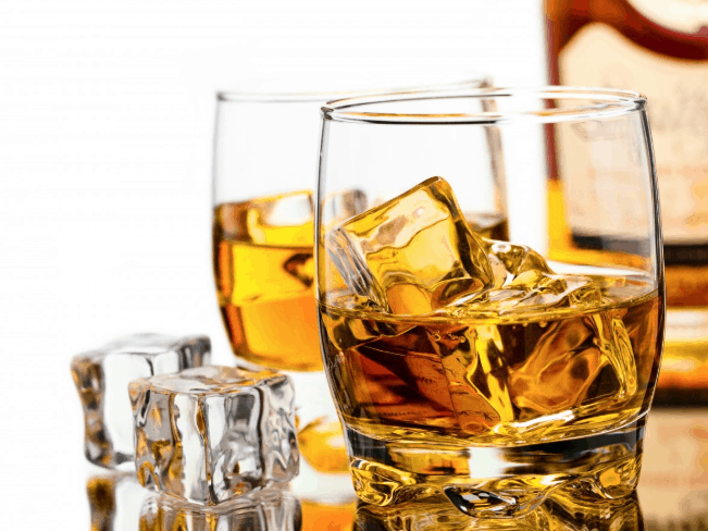 blended scotch in glass